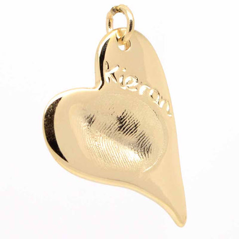Gold Fingerprint Curvy Heart Necklace Pendant