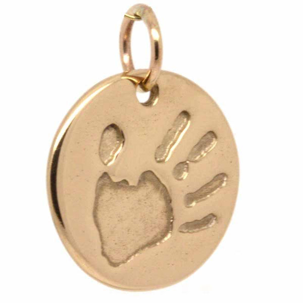 Pendant - Gold Handprint Disc Charm