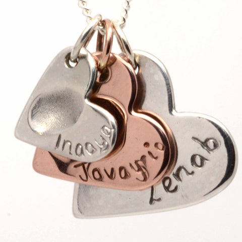 Rose Gold and Silver Fingerprint Three Hearts Necklace Pendant