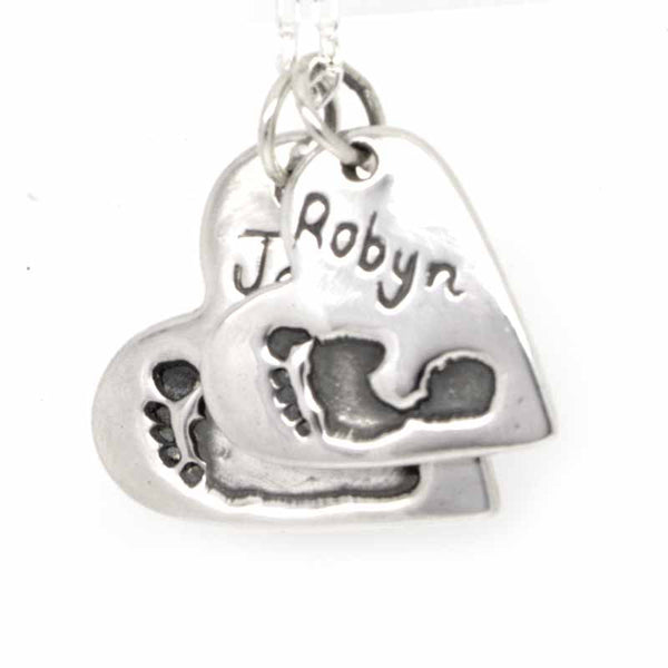 Two Footprint Hearts Necklace Pendant - Perfectcharm - 1