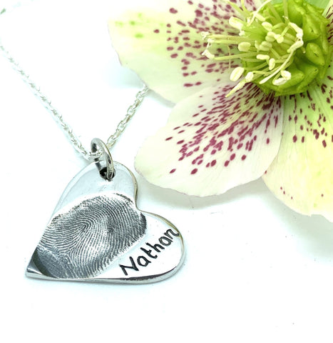 Fingerprint Heart Necklace Pendant