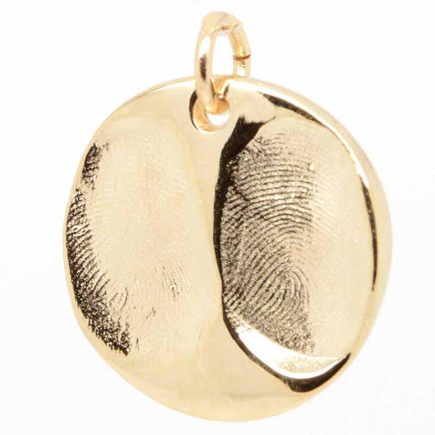 Gold Fingerprint Disc Pendant