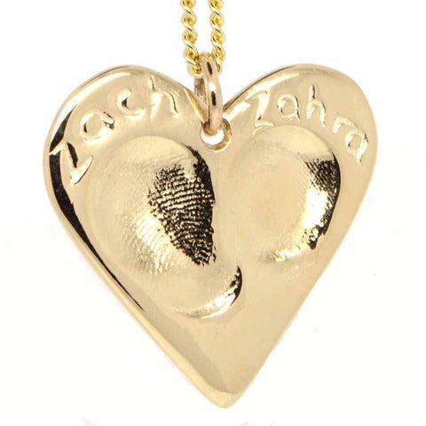 Gold Fingerprint Heart Necklace Pendant