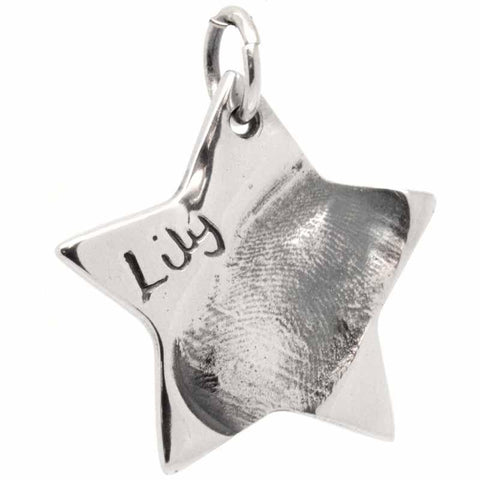 Gold Fingerprint Star Charm Large