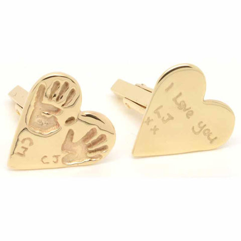 Gold Heart Handprint Cufflinks