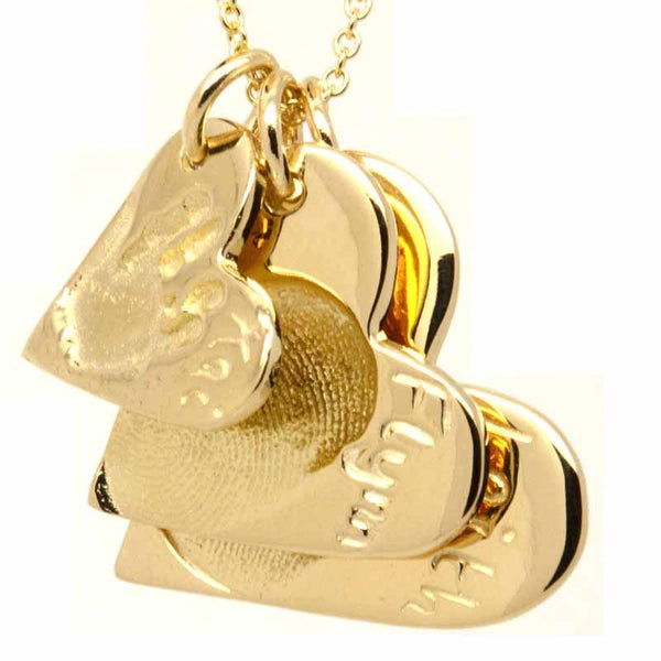 Print Jewellery - Gold Three Fingerprint Heart Stacker Necklace Pendant
