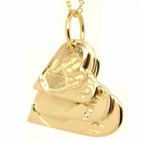 Gold Three Fingerprint Heart Stacker Necklace Pendant