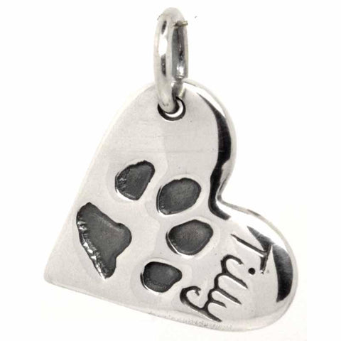 Paw Print Heart Charm or Necklace Pendant