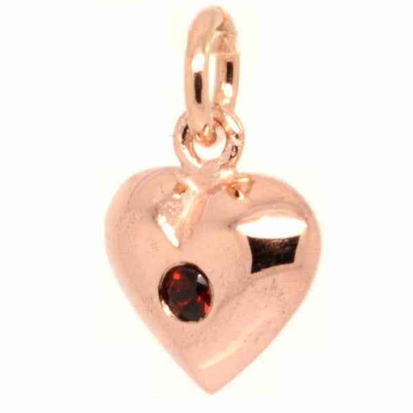 Stock - 9ct Rose Gold Birthstone Heart Charm