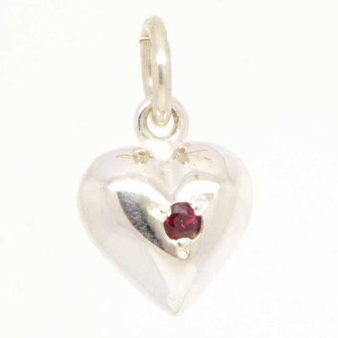 Silver Birthstone Heart Charm with Carrier Bead