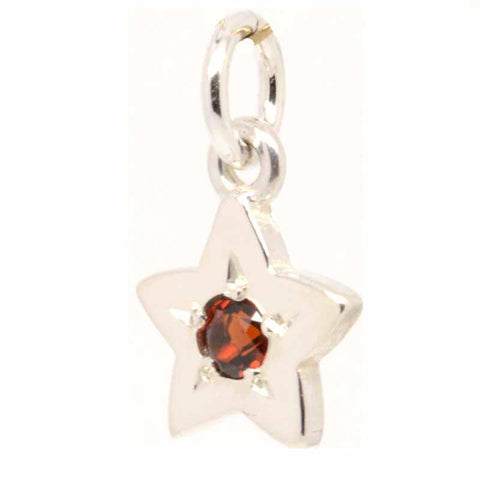 Silver Birthstone Star Charm with Carrier Bead