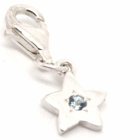 Silver Birthstone Star Charm with Clip on Clasp