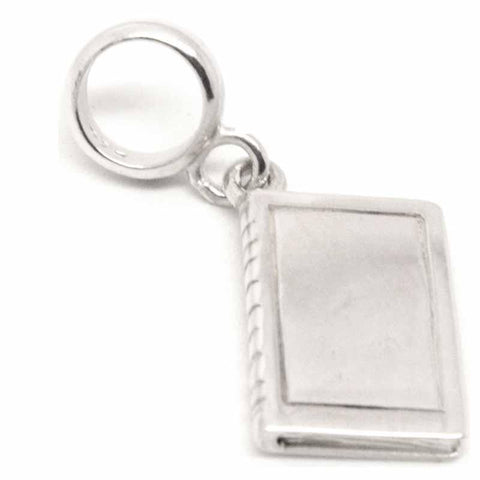 Silver Book Charm on Carrier Bead