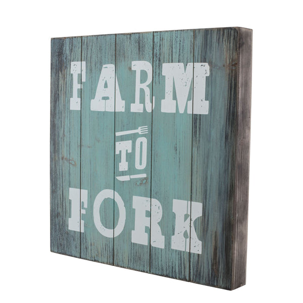 "Wood Sign 16"" x 16"" – ""Farm to Fork"""
