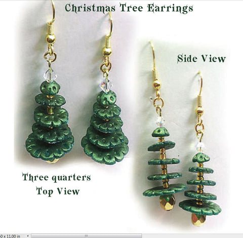 Christmas Tree Earrings using Translucent Polymer Clay (Tutorial)