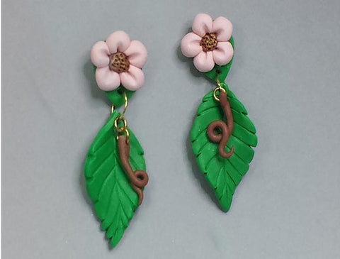 Leaf & Flower sculpted earrings of polymer clay