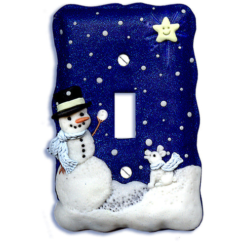 polymer clay snowman light switch