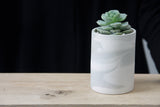 MAX- Small ceramic planter in gray and white.