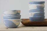 TRIO - Ceramic set of 3 small bowls in light blue and white marbled pattern