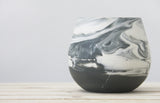 THELMA - Ceramic bowl in black and white in marbled look with black glossy glaze