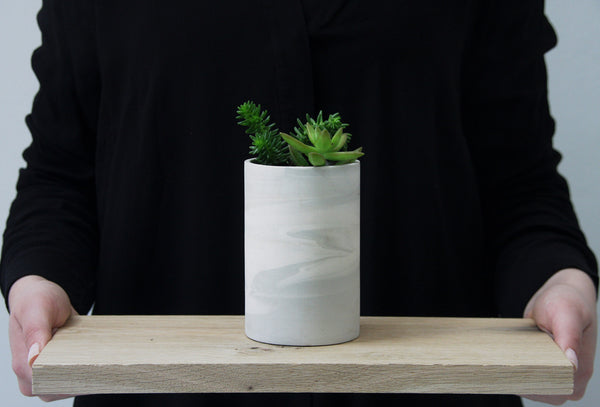 MAXWELL- ceramic planter in gray and white.