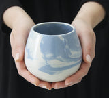 THELMA - Ceramic bowl in light blue marbled