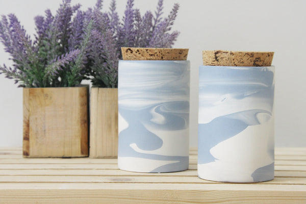 MAXWELL- Ceramic jar in light blue and white marbled pattern