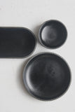 Ceramic small bowl in black curved line pattern