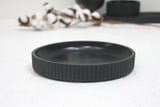 Ceramic large bowl in black curved line pattern
