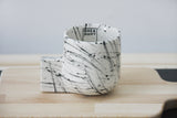 Lenny- Ceramic espresso cup in white with black lines pattern