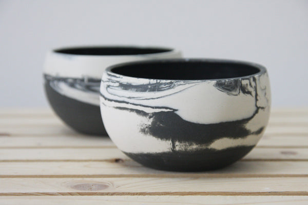 ALEX- Marbled ceramic dessert bowl