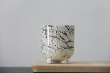 Plus- Ceramic espresso cup in black lines pattern