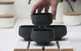 Ann- Set of 4 ceramic small bowls in black.