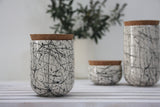 JARS- Ceramic set of 3 different jars. Black lines.