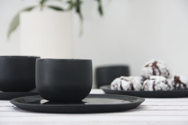 Coffee set- Espresso cup and cake plate in black