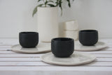 Coffee set- Espresso cup and cake plate in mixed colors