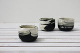 EMMA - Ceramic espresso cup in black and white marble pattern- Short