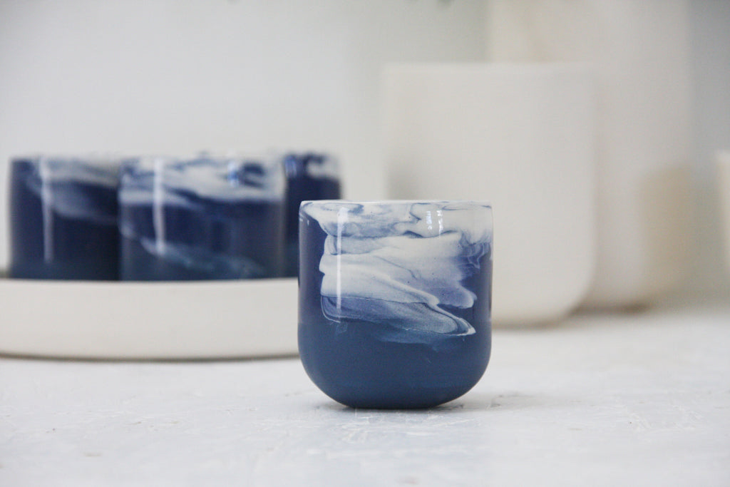 Emma- espresso cup in blue and white marble