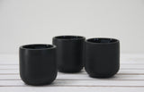 EMMA - Ceramic espresso cup in black and glossy glaze- Long