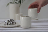 EMMA - Ceramic espresso cup in white and glossy glaze- Long