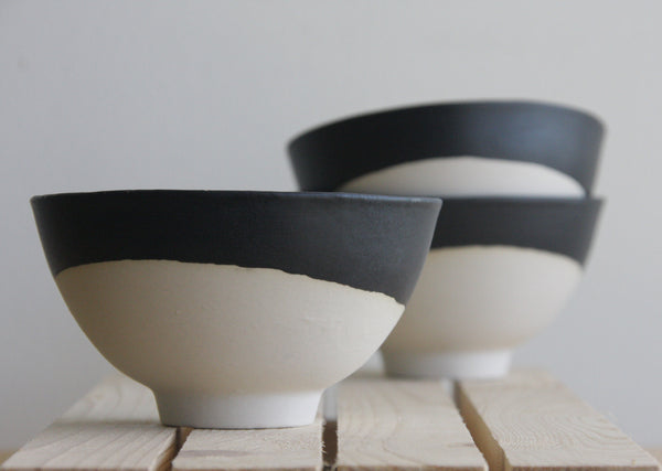 Lili Ceramic Bowl In White With Black Matte Glaze One