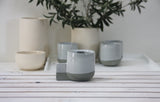 Lenny- Ceramic espresso cup in gray and white