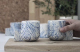 Lenny- Ceramic espresso cup in white with blue lines pattern