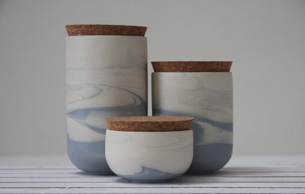 JARS- Ceramic set of 3 jars in marble pattern- Light blue