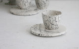 Lili - ceramic espresso cup with saucer in white and black lines pattern