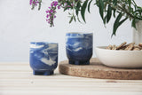 PLUS - Ceramic espresso cup in blue marbled.