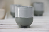 Plus- Ceramic espresso cup in gray and white glaze