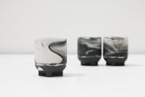 Plus - Ceramic espresso cup in black and white marble- short