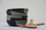 Sam- Ceramic plate in gray and black matte