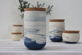 JARS- Ceramic set of 3 jars in marble pattern- Blue